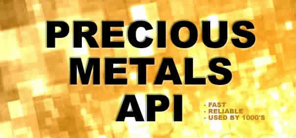 Precious metals api providing live spot gold and silver prices.